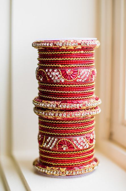Stunning red and gold crystal bangles.