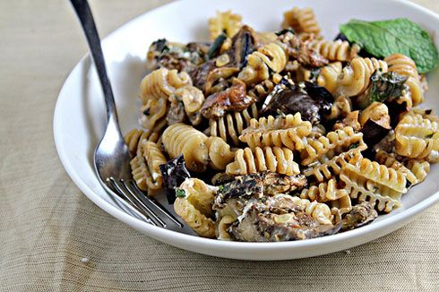 Pasta with Oven Roasted Eggplant, Goat Cheese, and Mint Recipe