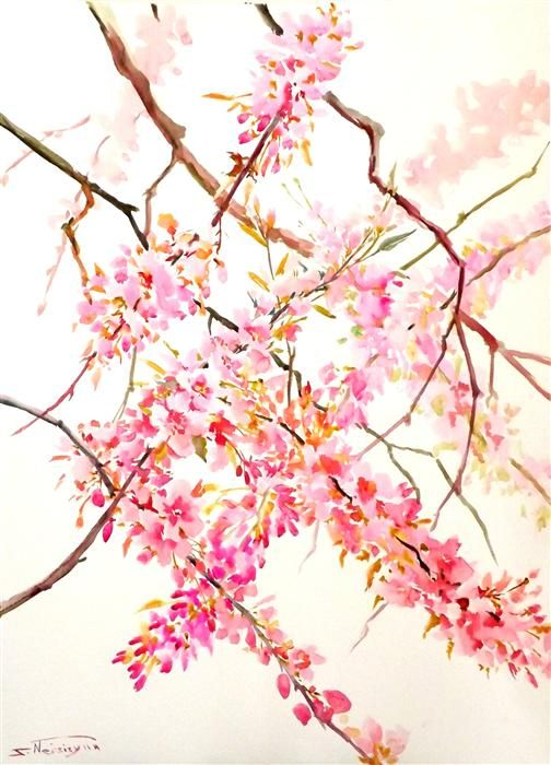 watercolor painting   Cherry Blossoms (Vertical Composition)   Ugallery Online Art Gallery