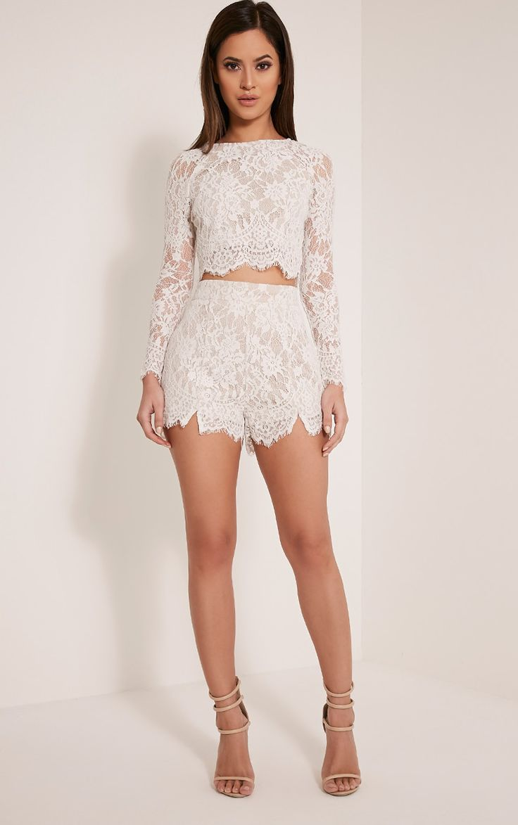 Ellena White Lace Long Sleeve Crop Top to go with palazzo pants