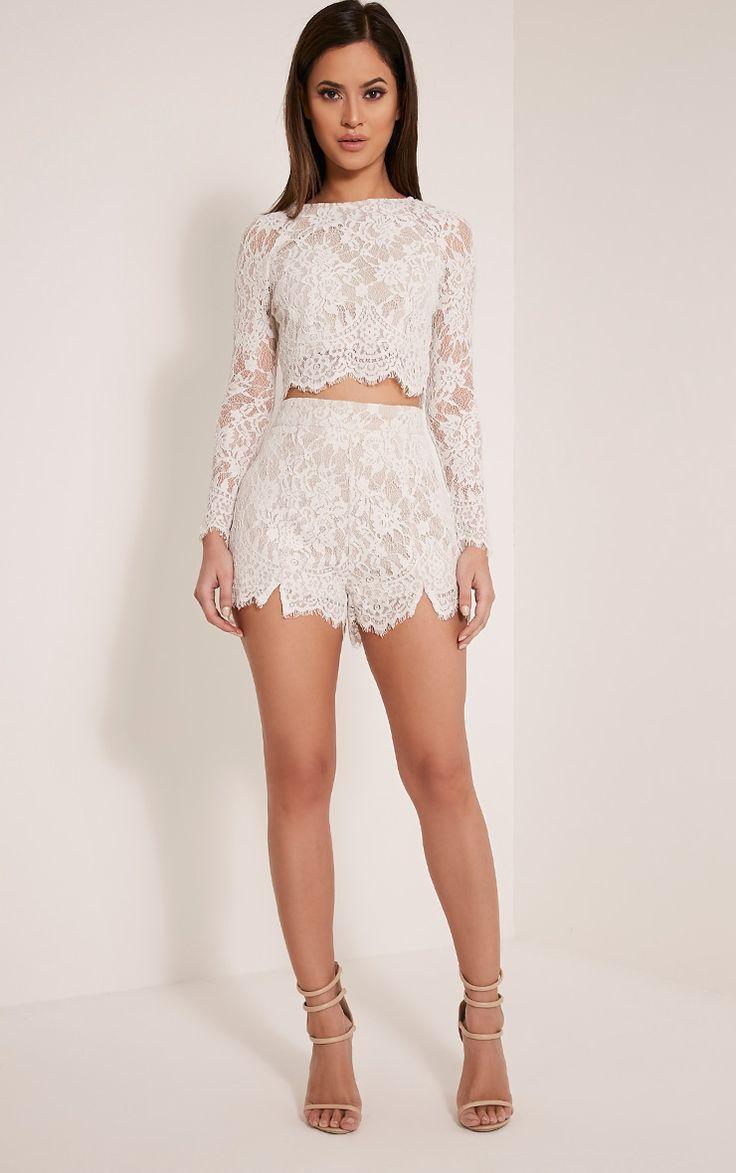 Ellena White Lace Long Sleeve Crop Top Image 5