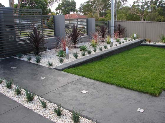 Modern Front Yard on Pinterest | Modern Landscaping, Modern Fence ...