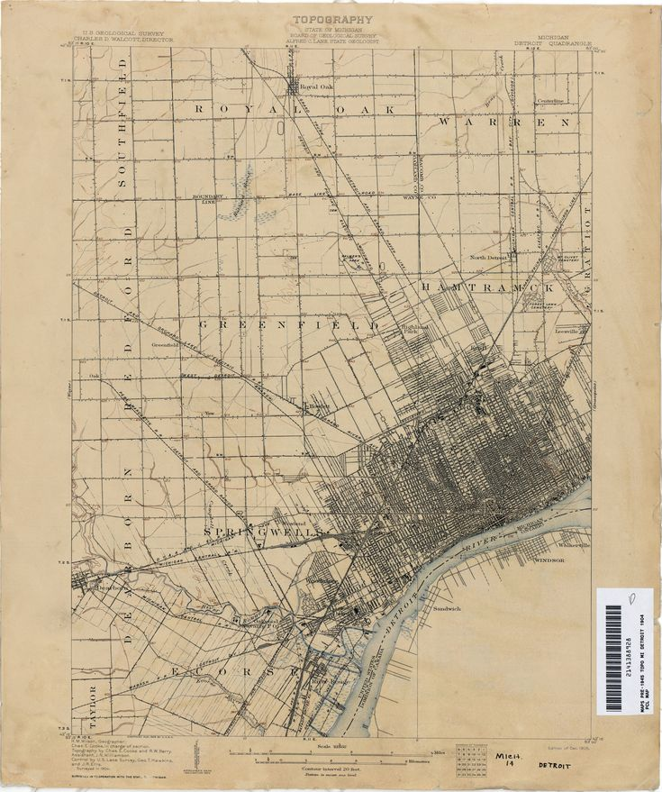 """Detroit.  """"Topography, State of Michigan, Board of Geological Survey, Alfred C. Lane, State Geologist.""""  Edition of Dec. 1905, surveyed in 1904"""