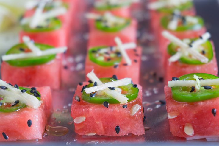 "A pretty, vegan fruit sushi: Watermelon Jalapeno ""Sashimi""!"