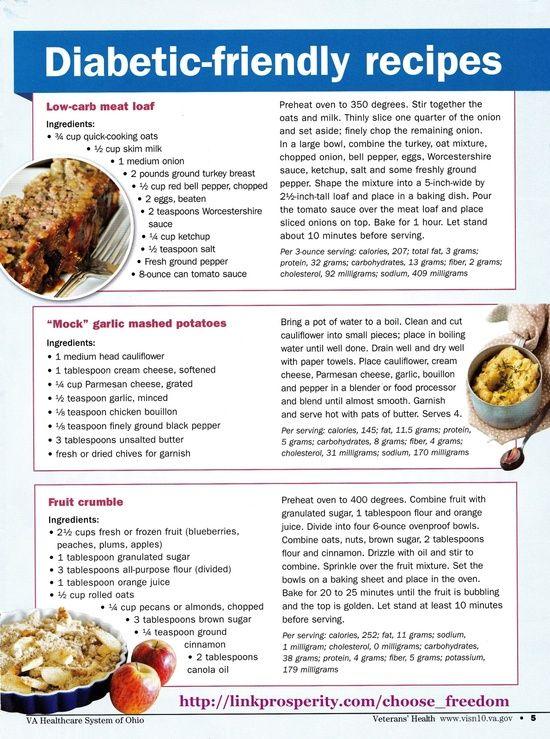 diabetes food menus