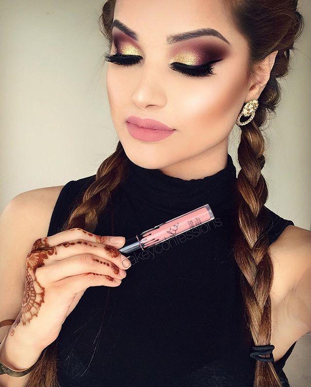 "@hudabeauty @shophudabeauty lashes in Farah  @anastasiabeverlyhills brows and sun dipped #glowkit  @kyliecosmetics Liquid lipstick and liner- ""Koko K"""