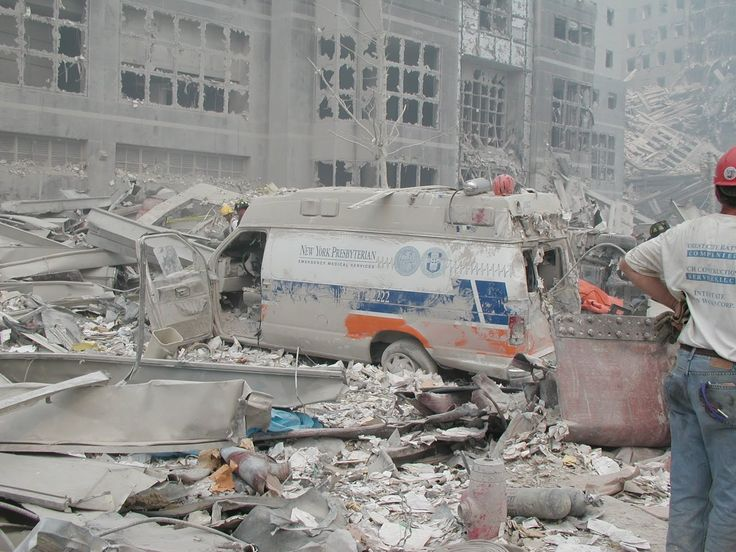 9/11 Aftermath of the Twin Towers wreckage.
