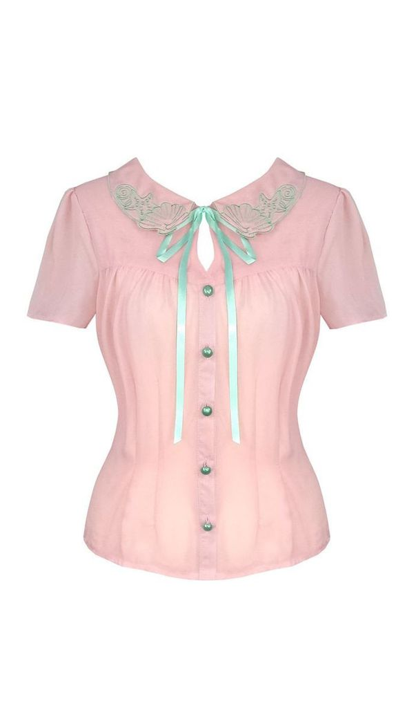 Sheer Shelli Embroidered Blouse in Pink by Hell Bunny