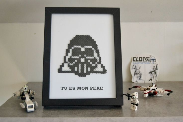 Cadre photo Dark Vador - Perles hama #hama #starwars #darkvador #kids