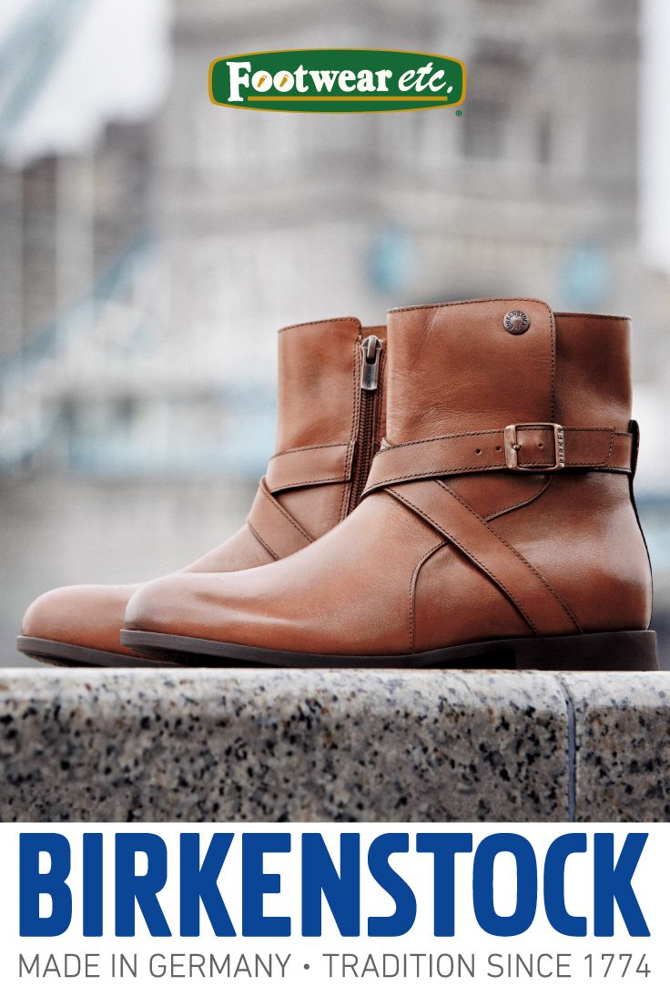 The Women's Birkenstock Collins is a casual leather mid-calf boot with a decorative buckle strap and inside zipper for easy on and off. What's not to love about Birkenstock?!  Find this boot and other popular Birkenstock styles at Footwear etc.