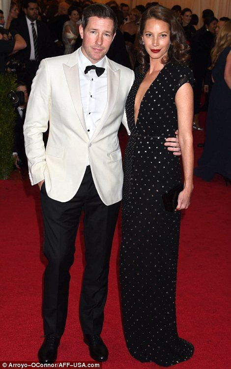 Lovely longtime couples: Hugh Jackman had wife Deborra-Lee Furness by his side (L) while Christy Turlington was joined by husband Ed Burns