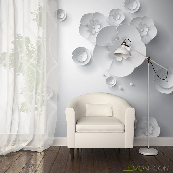 Papierowe kwiaty 3D #Fototapeta 3D z aranżacji http://bit ...