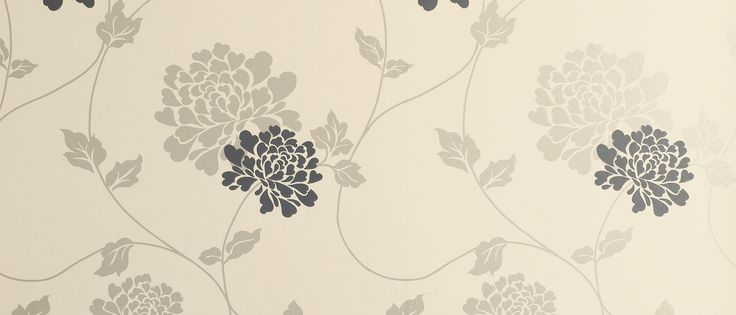 Isodore Charcoal/Linen Floral Wallpaper at Laura Ashley