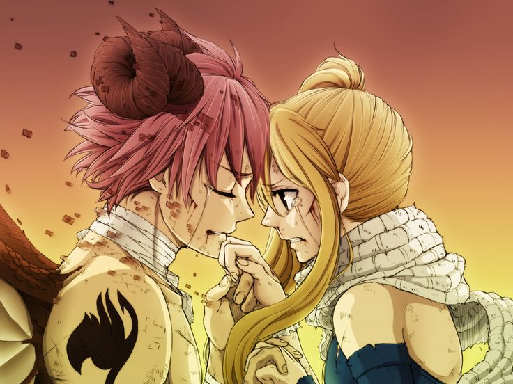 Natsu X Lucy, Fairy Tail, Tears, Scarf, After Fight
