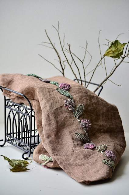 Linen scarf with crochet embellishments