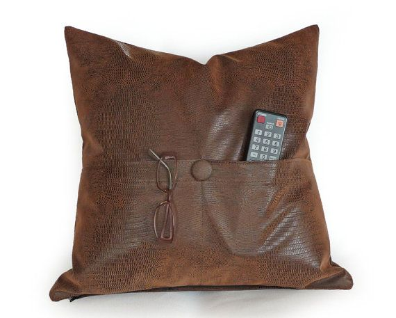 POCKET PILLOW Brown Leather Pillows Man Cave by PillowThrowDecor