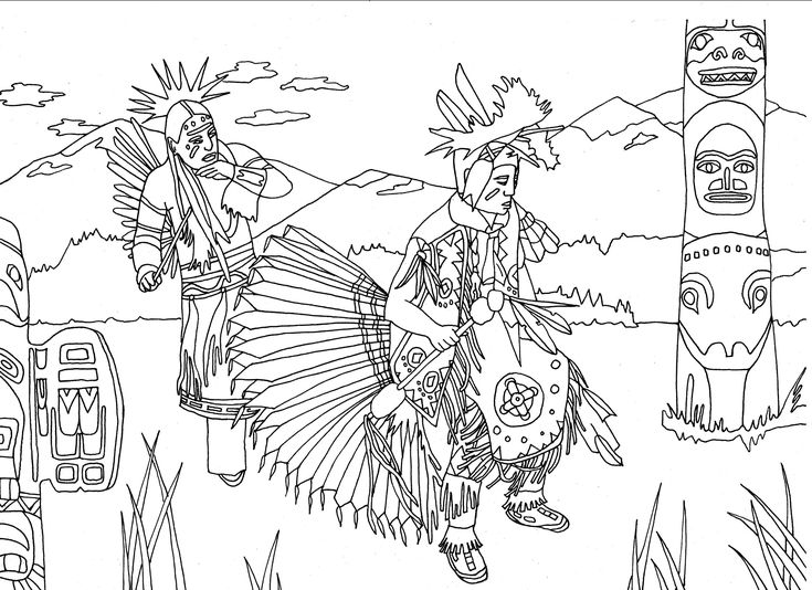 Free coloring page coloring-adult-native-americans-indians-danse-totem-by-marion-c. Native Americans dancing next to a Totem, by Marion C