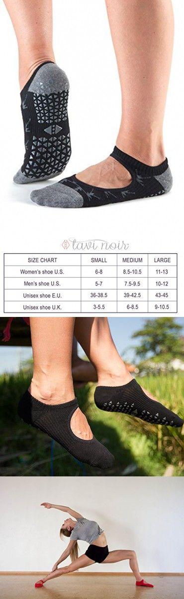 Tavi Noir Chey Mary Jane Non-Slip Grip Socks for Barre, Pilates, Studio, and Yoga (Broken Arrow Ebony) Medium