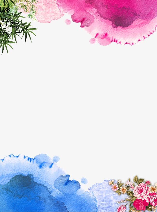 Ink Peony Border Background Ink Bright Hand Painted Png