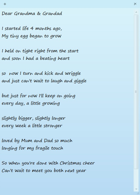 The next day we went to the Highlands. We took a poem from bump to Grandma and Grandad to announce our happy news.