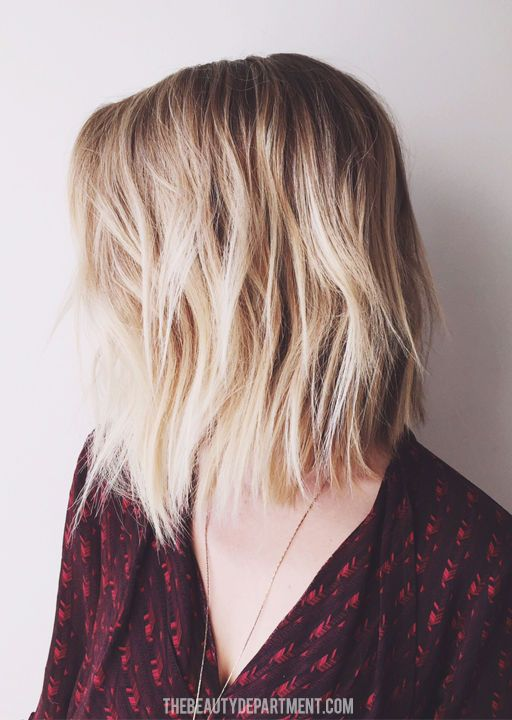 the lob - collar-bone length lob with texture though out. A tiiiiiiny bit shorter in the back than in the front
