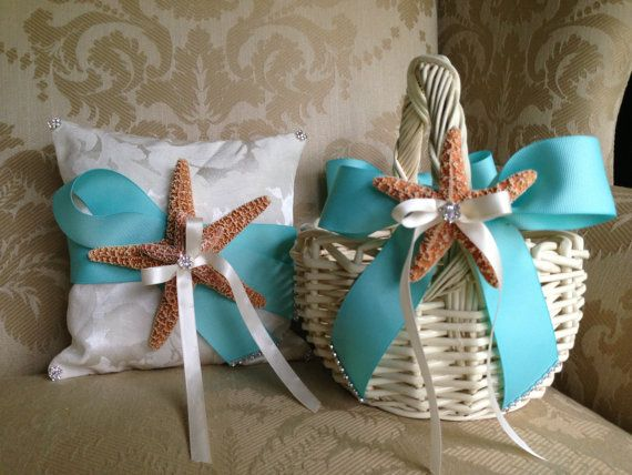 flower girl basket and coordinating ring pillow for beach wedding with tiffany blue ribbon