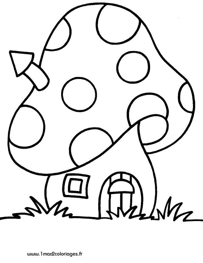coloriage petits Une maisonette champignon de Schtroumpf