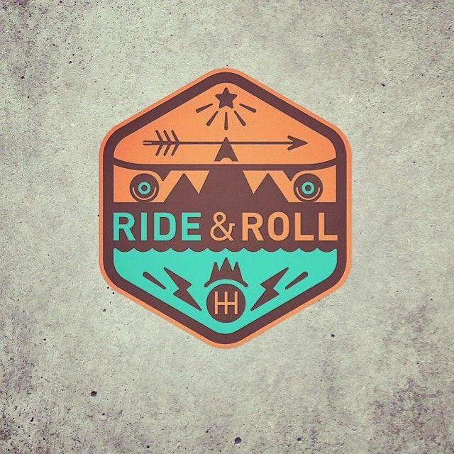 Ride  Roll #surf and #skate logo badge #sticker #hh #concrete #bergfest #longboard #surfboard #water #waves #street #asphalt #arrow #design