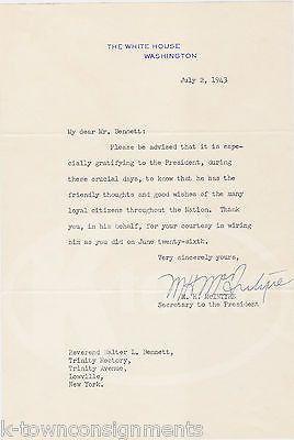 M. H. McINTYRE WWII SECRETARY TO PRESIDENT ROOSEVELT SIGNED WARTIME LETTER 1943