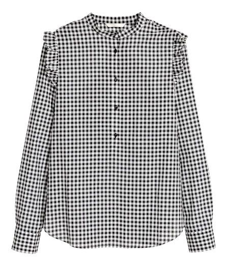 Check this out! Long-sleeved blouse in woven cotton fabric with a small stand-up collar. Button placket, ruffle trim on shoulders, and gently rounded hem. - Visit hm.com to see more.