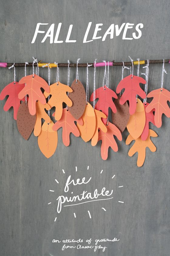 Fall leaves: free printable from classic play for decorating, gratitude trees and fall hostess gifts.