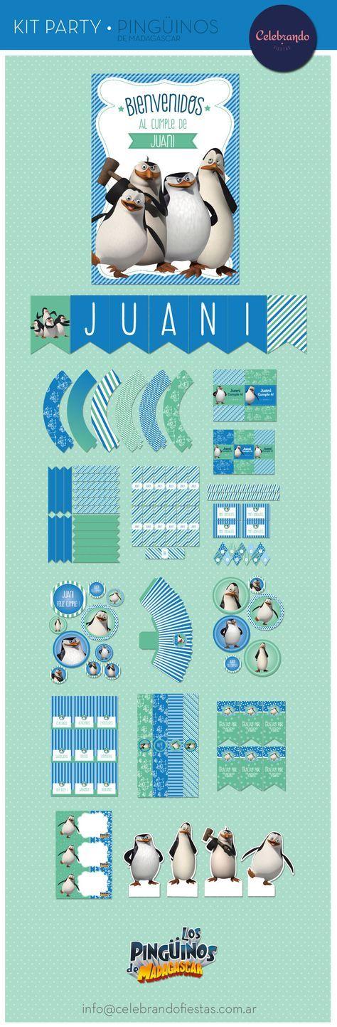 Kit imprimible Los Pingüinos de Madagascar - Celebrando Fiestas