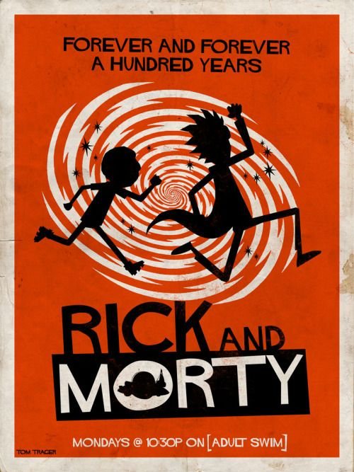 """ Rick and Morty fan art in the style of Saul Bass. """