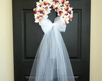 lente krans zomer bruiloft kransen voor voordeur kransen bruiloft boeket sluier Tule decoraties buiten kransen