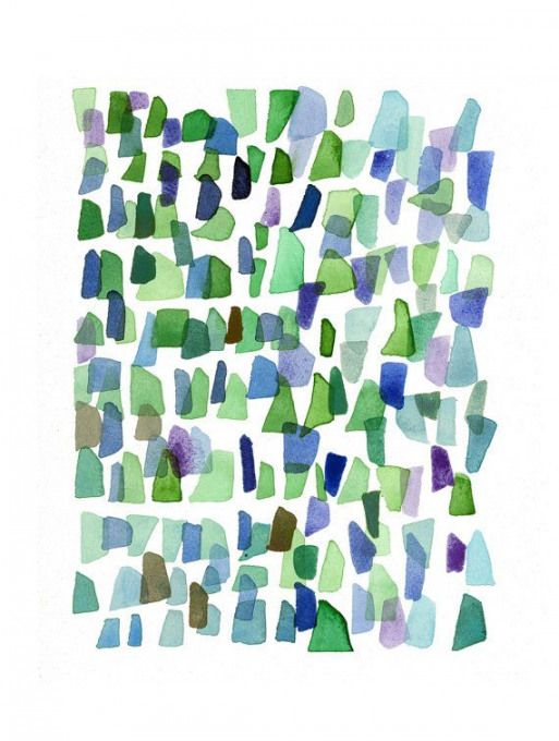 Watercolor Painting Sea Glass Art Abstract By Louiseartstudio