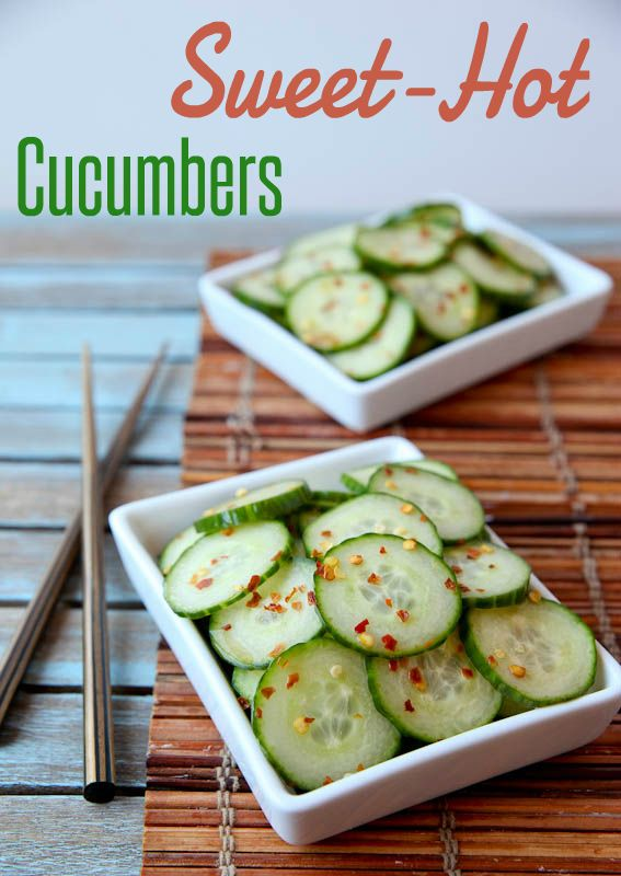 """These """"Sweet-Hot Marinated Cucumbers"""" are an easy and healthy snack!"""