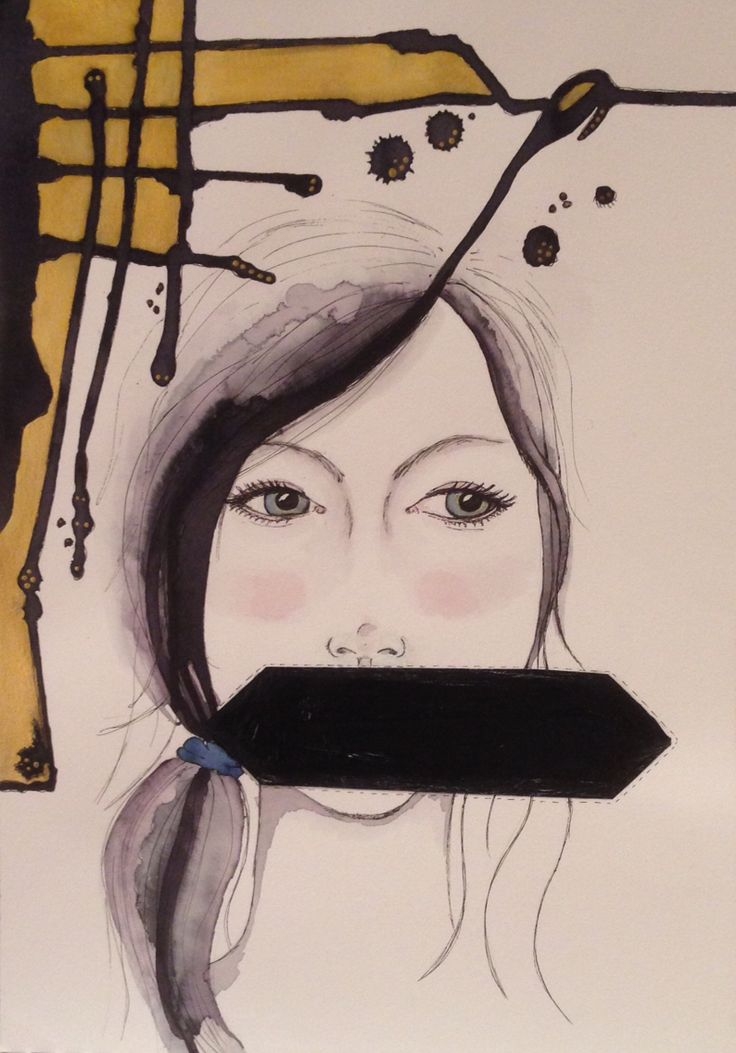 Silence. Mixed media art. A3 By Cia Keramik och Design