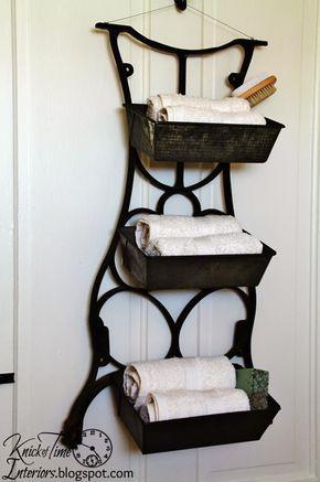 recup -  machine à coudre - nouvelle vie - idée de rangement - Repurposed Antique Sewing Machine Table Legs into Wall Bins by knickoftimeinteriors.blogspot.com