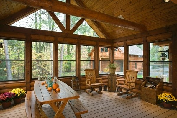 1000 images about love enclosed porches on pinterest for Log cabin sunroom additions