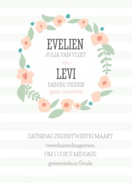 Trouwkaart met bloemenkrans op mintgroene strepen