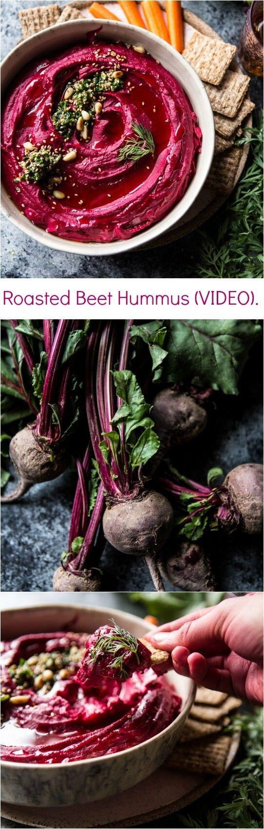 Roasted Beet Hummus (VIDEO) | halfbakedharvest.com @hbharvest