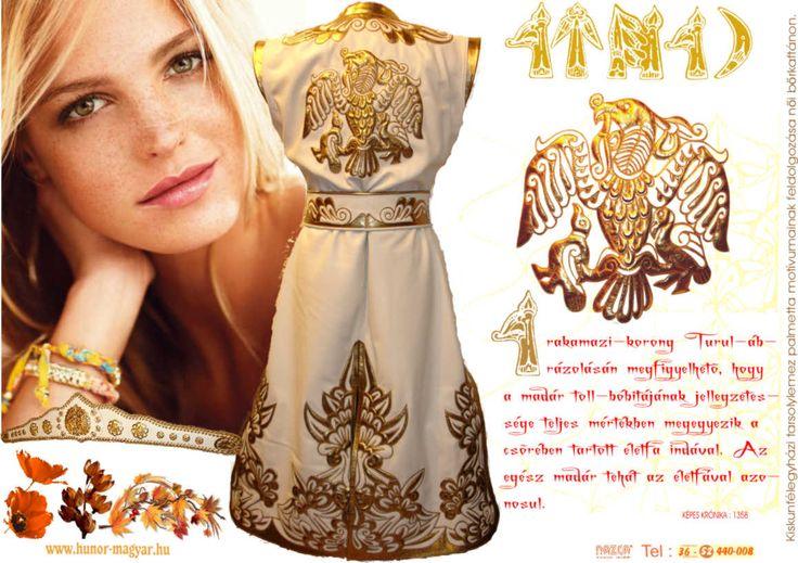 Honfoglalás kori női, fehér- arany bőrkaftán rakamazi turulos díszítéssel. /NAZCA Műhely/