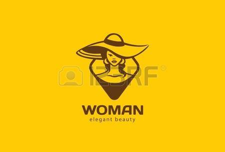 Bella donna in cappello Logo modello di disegno vettoriale. Bellezza Moda Salone di Lady Logotype concetto icona.