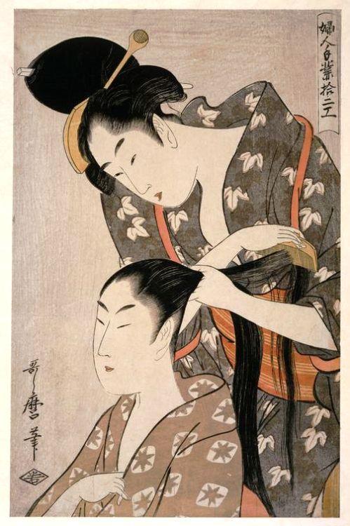 """lyslily: """"Японский цвет Ксилография по Китагава Утамаро, ок  1798-1799.  Ками-юй / Парикмахерская """""""