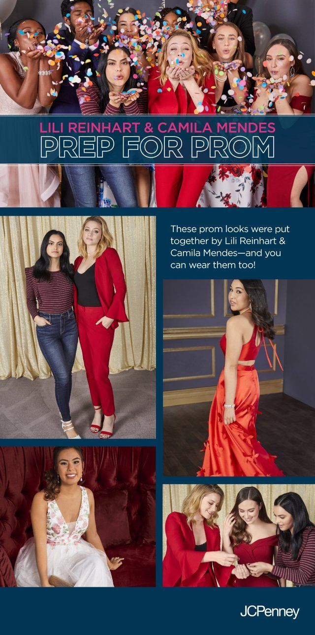 Lili Reinhart and Camila Mendes are ready for prom! They were the creative directors on a recent JCPenney photoshoot for prom. They created prom looks for real students from the YMCA. Girls chose from floral prom dresses, two-piece prom dresses, long dresses and short dresses that matched their personal style. Guys prom outfits always start with a great prom tux. Slim fit tuxedo jackets, navy tuxedo jacket or simple black suits are easy to find at JCPenney. Check out the complete looks.