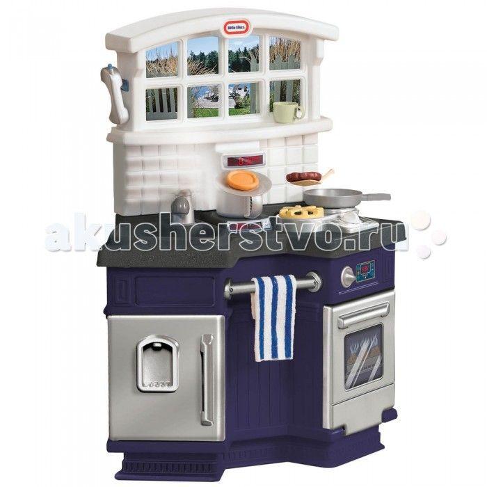 Little Tikes Кухня 171499  Уникальный «угловой дизайн» создаёт неповторимый уют. Кухня компактна и, в то же время, два ребёнка могут играть на ней, смотря при этом друг на друга. Вешалка для полотенца.  Электроплита со звуками, имитирующими звуки приготовления пищи.  Большая современная раковина, кран, духовка, холодильник, «гранитная» столешница, окно с постером, на котором изображен вид на улицу. 18 аксессуаров.  Требуется 2 AA батарейки не включено.