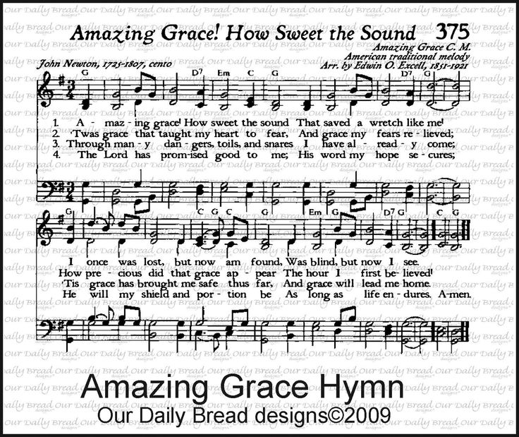 Amazing Grace Lyrics And Sheet Music: 191 Best HYMNS Images On Pinterest