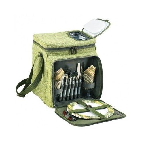 All In One Wine Picnic Cooler Camping Hiking Tableware Set Romantic Green Garden
