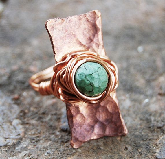 Large. Copper. Turquoise. Cocktail. Ring. by Karismabykarajewelry, $32.00