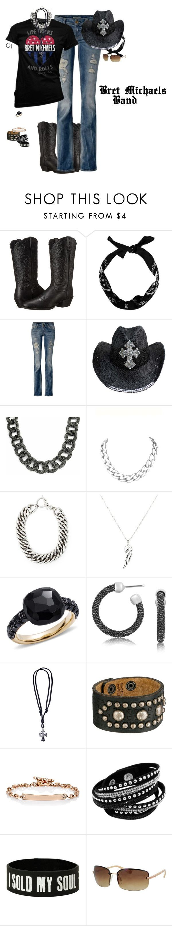 """Bret Michaels band concert outfit"" by kaylarm ❤ liked on Polyvore featuring Ariat, Bling Jewelry, Karen Kane, Yves Saint Laurent, Pomellato, Dsquared2, Hoorsenbuhs, Kay Unger New York, women's clothing and women"